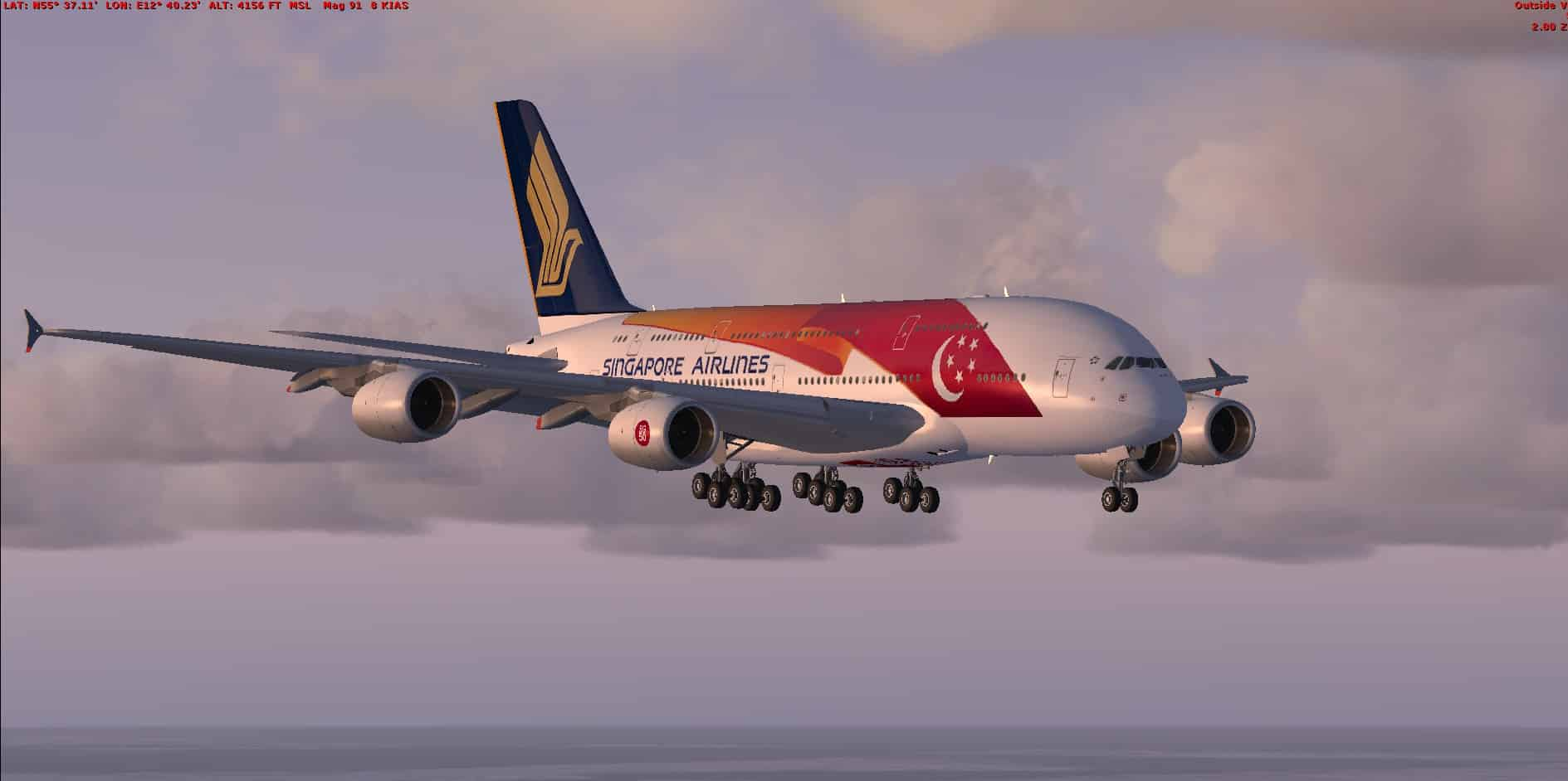 FSX/P3D Airbus A380 Singapore Airlines With VC And Passenger