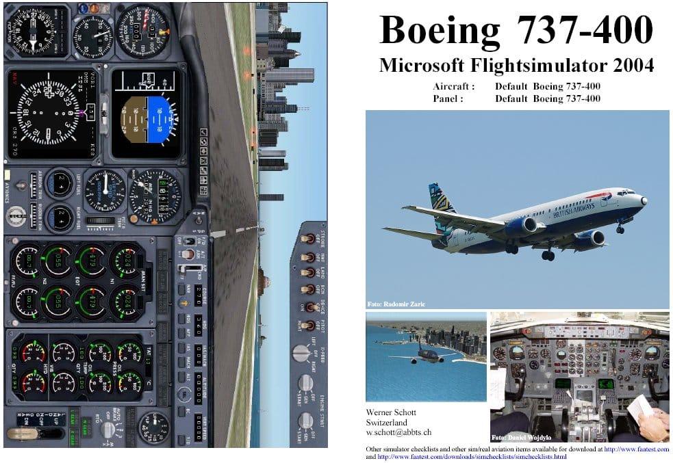 FS2004 Manual/Checklist -- Default B-737-400 - Flight